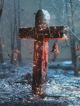 C4素材网-C4D工程-暗黑十字架风格图