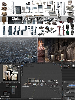 C4素材网-Blender工程-逼真城市细节3D数字资产包