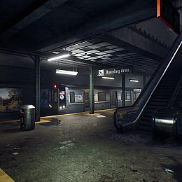 C4素材网-UE4资产-地铁楼梯站台资产