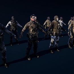 C4素材网-UE4资产-士兵特种兵战士UE4反恐精英游戏人物模型