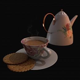 C4素材网-茶壶咖啡杯饼干模型