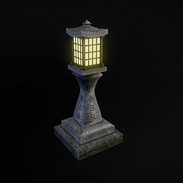 C4素材网-古风石柱灯柱模型