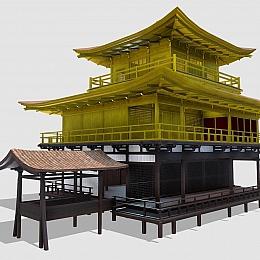 C4素材网-古风楼阁房子模型