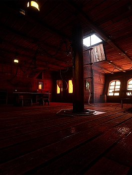 C4素材网-UE4资产-木质轮船船舱
