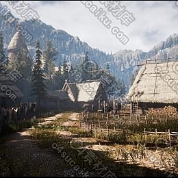 C4素材网-UE4资产-中世纪村落与室内装潢