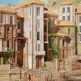 C4素材网-UE4资产-欧式小镇建筑模型资产