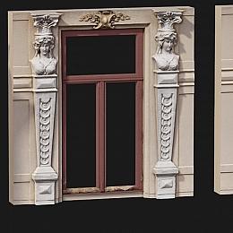 C4素材网-欧式窗户墙角雕像模型