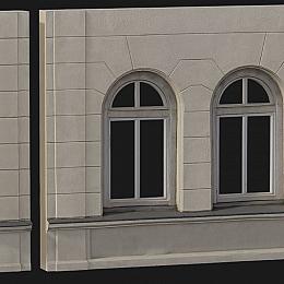 C4素材网-欧式窗户墙角模型