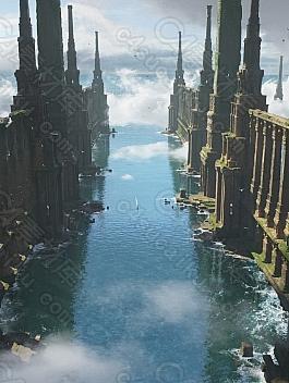 C4素材网-Blender工程-海上城市废墟遗迹场景
