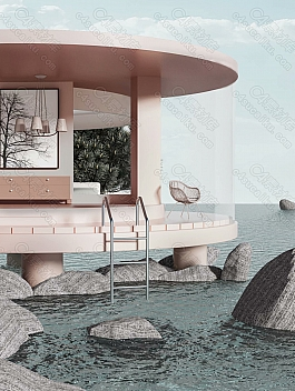C4素材网-C4D工程-水面楼房