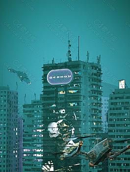 C4素材网-C4D工程-赛博朋克风格城市建筑