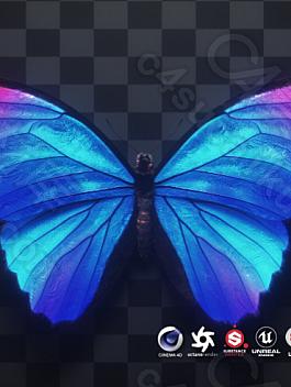C4素材网-C4D工程-蓝色蝴蝶3D模型【带无缝循环动画/OBJ/FBX文件】