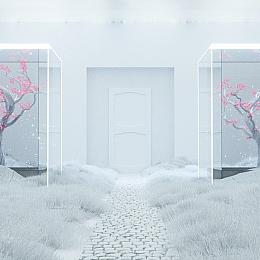 C4素材网-C4D工程-梅花树场景