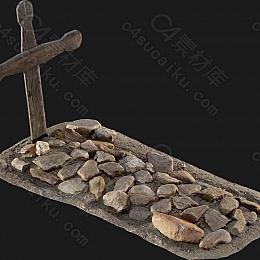 C4素材网-木制墓碑十字架模型