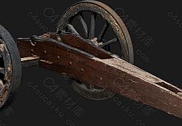 C4素材网-破旧火炮轮子架子