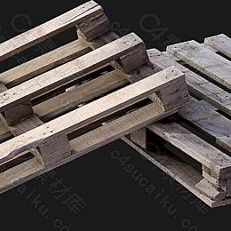 C4素材网-木板木架模型