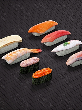 C4素材网-C4D工程-3D寿司模型