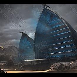 C4素材网-C4D工程-沙丘场景渲染