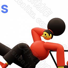 C4素材网-Blender工程-15组卡通人物插图场景