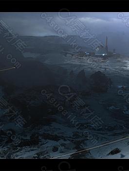 C4素材网-C4D工程-山脉科幻场景