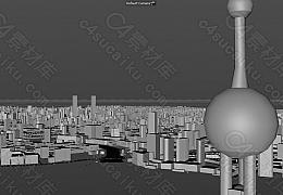 C4素材网-上海市区城市建筑简模