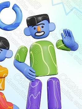 C4素材网-Blender工程-3D卡通人物角色绑定工程