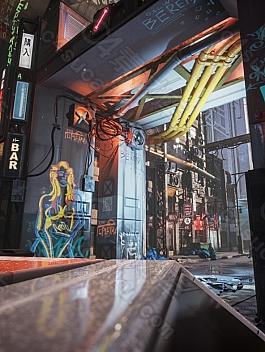 C4素材网-UE4资产-赛博朋克风城市建筑模型资产