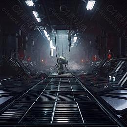 C4素材网-C4D工程-太空舱科幻场景
