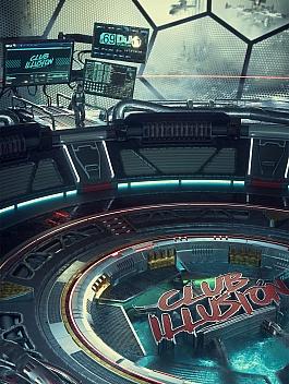 C4素材网-C4D工程-舱室loading科幻海报场景